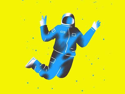 Astronaut illustration floating flying texture yellow astronaut procreate