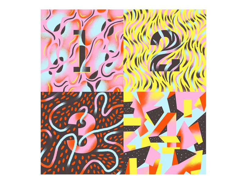 1 2 3 4 pattern illustration texture numbers typographie lettering 36 days of type