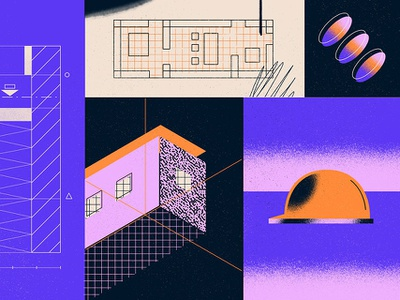 Architecture Design Phases layout design building halftone blueprint architecture isometric plans texture illustration