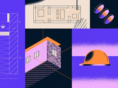 Architecture Design Phases layout design building halftone blueprint architecture isometric plans texture illustration