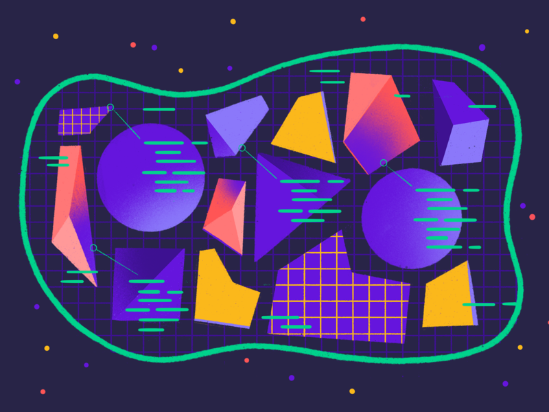 Backend architecture architecture coding code systems texture abstract shapes geometry monolith backend tech procreate illustrations