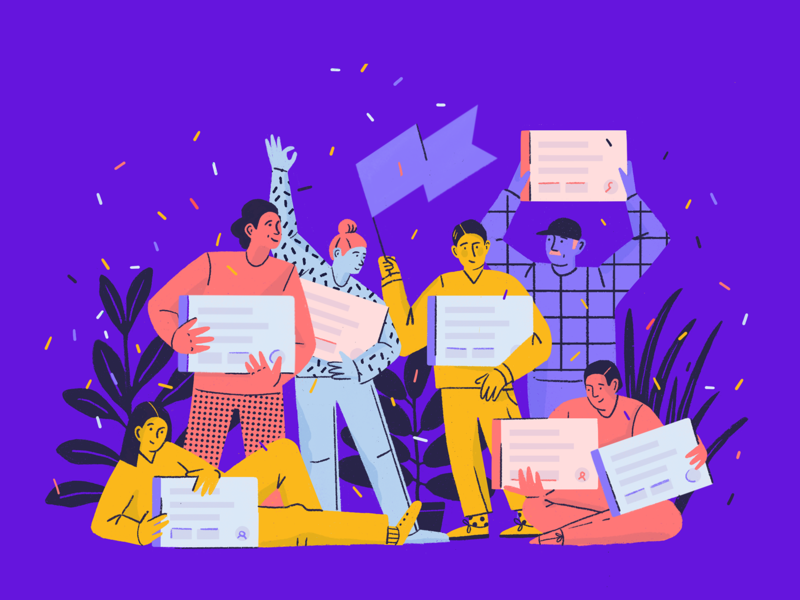 Free Plan for Small Teams ui code procreate illustration faces characters confetti ceebration team teams developer software people