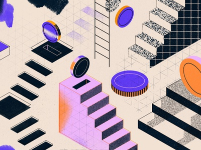 Revenue Sources saving money revenue geometry lines illustration design real media composition abstract coins stairs paper texture isometric illustration
