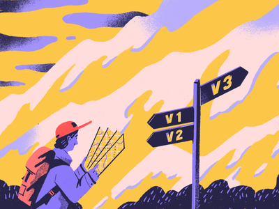 API V3 adventure journey path map landscape clouds mountains trip backpack person character hiker hike procreate illustration