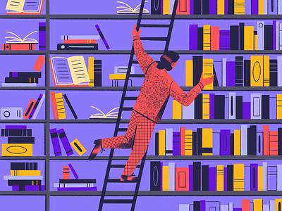 Structured loggs data code procreate texture organized bookshelf bookshop shelfs books library person character illustration
