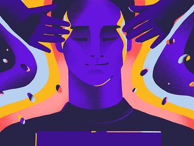 Psychological Safety meditate blog article workspace work safe hands massage face portrait texture procreate