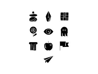 Stoic icon set black  white texture app design app journaling meditation app philosophy meditation mindfulness iconset icons