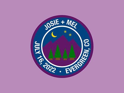 Mountains & stars wedding patch patch logo