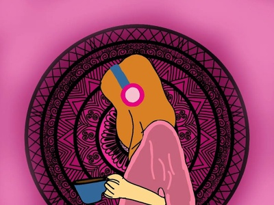 Music with a cup of Tea. illustration graphic design