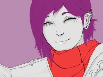 """I see, that's easy"" purple reading heads closeup characters simple color expression cartoon anime illustration character"