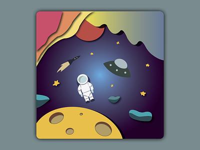 Space spaceart illustrator 2d artist graphic design vector illustration illustration