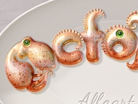Octopus text effect and whole alphabet.