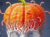 Pumpkin Brain. Halloween Concept.