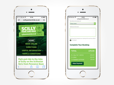Scilly Park And Ride – Mobile Website