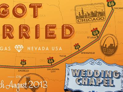 Ian & Eva Got Married – Print Detail #2 united states route 66 print map chicago california vegas present wedding trip road usa
