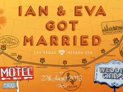 Ian & Eva Got Married – Print Detail #3 united states route 66 print map chicago california vegas present wedding trip road usa