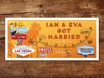 Ian & Eva Got Married – Print united states route 66 print map chicago california vegas present wedding trip road usa