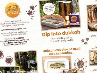 The Dukkah Company – Promotional Leaflet Detail #1 cornwall food dukkah packaging branding identity design logo