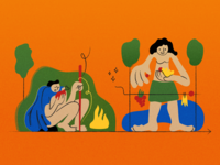 Illustration about evolution of food