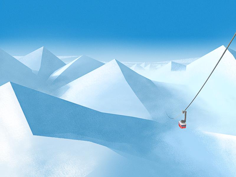 Get Piste cable car slope piste ski hotel illustration