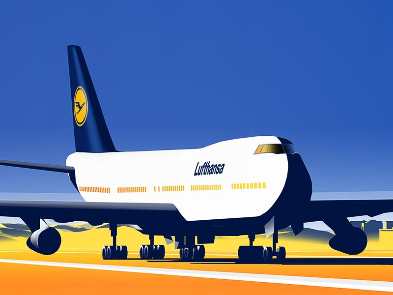 Lufthansa Destination Campaign illustration airport aircraft airplane lufthansa