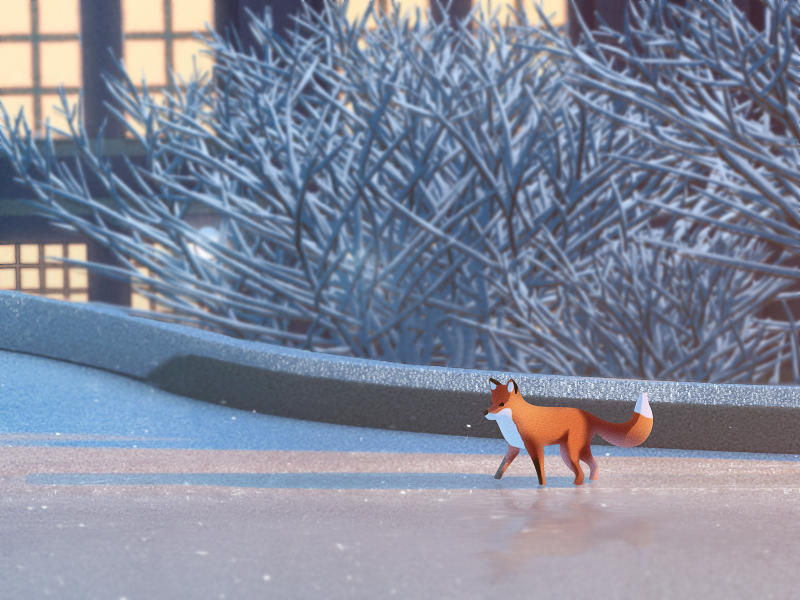 NRM - Fox close up fox snow museum illustration christmas advent calendar