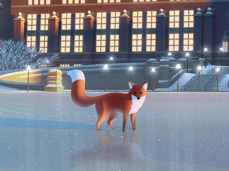 NRM - Fox close up II advent calendar christmas illustration museum snow fox