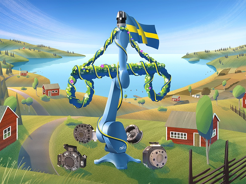 RSP - Midsummer Robot summer swedish midsummer pole illustration landscape sweden robot midsummer