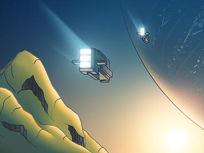 Atlatnis - II space spaceship sunken world atlantis landscape illustration