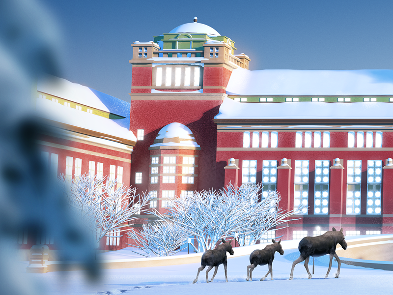 Museum of Natural History - Christmas Calendar 2018 - I winter day crips elk calendar sweden snow moose museum illustration christmas advent