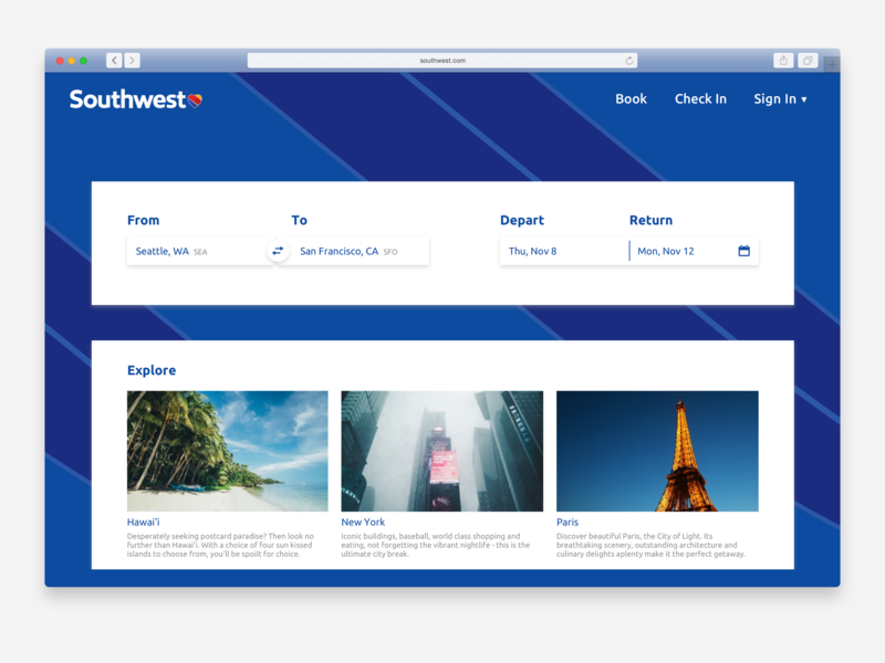 DailyUI 003 - Landing Page southwest airline travel page landing website daily ui dailyui type web ux ui typography design