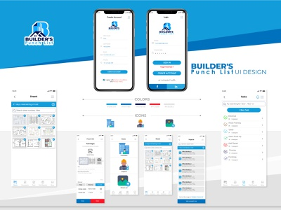 Builders punch list vector art illustration website logo app design ui design ux ui graphic design design app