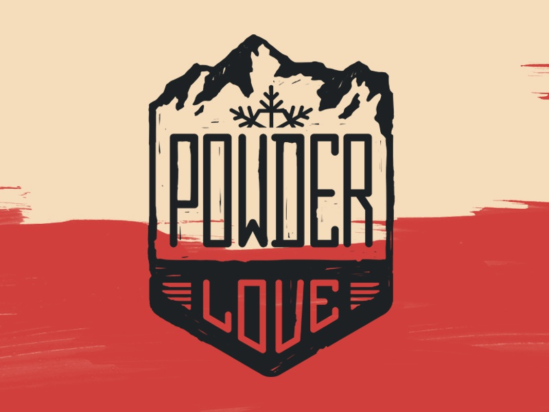 Powder Love art snowflake snow powder graphic design mountain snowboard badge design