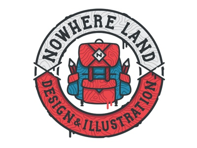 Create & Explore imagine travel explore seal icon illustration badge pencil backpack vector design
