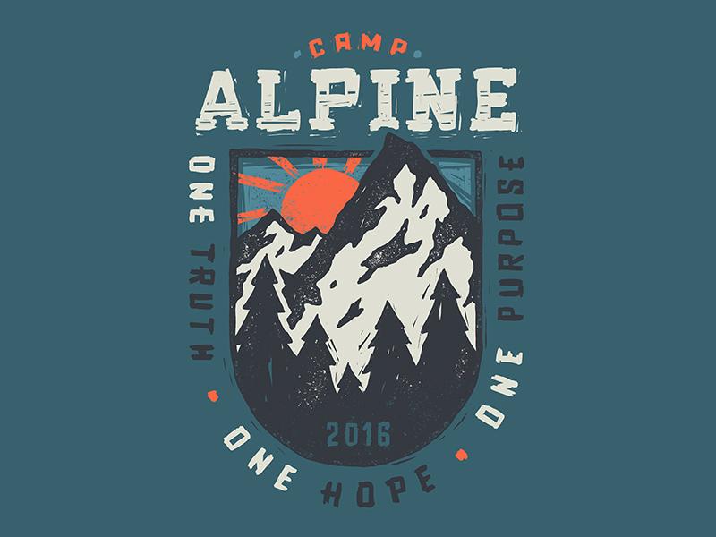 Camp Alpine camp hand drawn apparel t-shirt outdoors alpine design sun trees mountain
