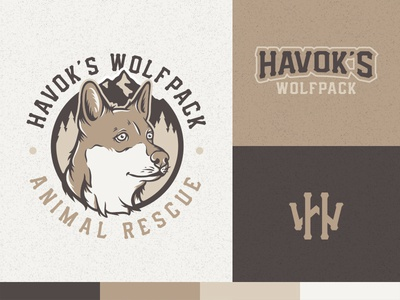 Havok's Wolfpack  animal mountains logo design animal rescue vector wolfpack dog logo design