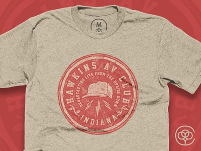 Cotton Bureau  upside down t-shirt stranger things hawkins  indiana dustin design cotton bureau badge av club