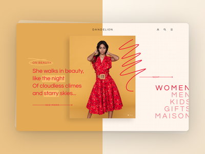 DANDELION Haute Couture UI Design typography design minimal ui clean ui design flat pink uidesign uiux webdesign clothing fashion
