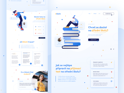 Eduzio - Online Education platform UI design flat illustration blue minimalism modern figmadesign clean education homepage uidesigner uiuxdesign uidesign uiux ui
