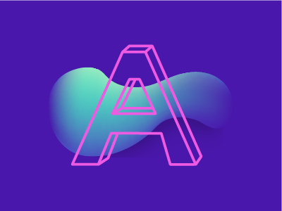 'A' mesh make it pop pink 80s quickie holographic graphic a illustrator illustration typography letter