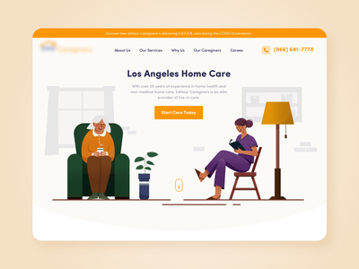 Caregiving agency home page web design website ui ux illustration design