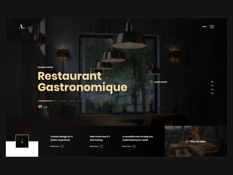 Architect Agency Website sans serif font sansserif minimalist gold yellow black restauration webdesign inspiration design webdesign ui