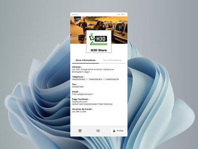E-commerce profile page design algeria user interface profile page store shop ecommerce app