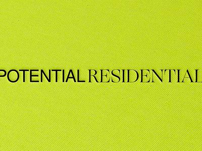 VISUAL IDENTITY for POTENTIAL RESIDENTIAL neon flat minimal modern bold graphic design creative studio interior design architecture texture paper premium illustrator design typography logo branding visual identity