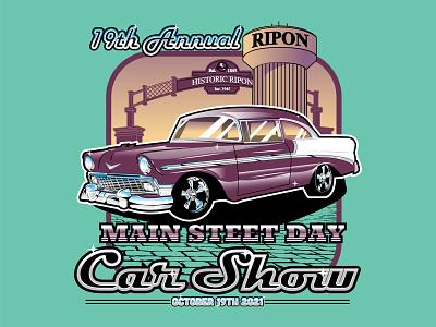 Ripon Main Street Day Car Show Illustration illustrator design screen-print vector illustration