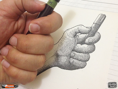 My hand / Pointilism pointilism doodle rotring isograph hand dot cartoon