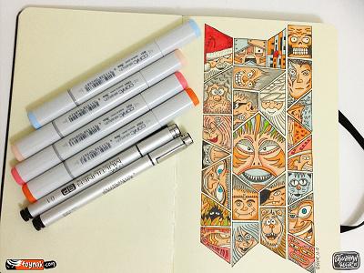 Face2Face faces puzzle doodle copic cartoon sketchbook moleskine