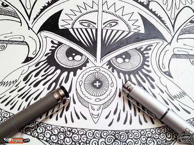 Owl Eyes eye owl sperm doodle cartoon sketch poster copic artline