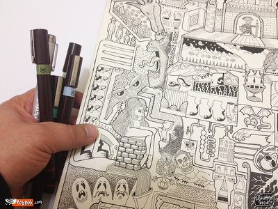 The big poster brainstorming doodle poster rotring rapidograph isograph copic sketch