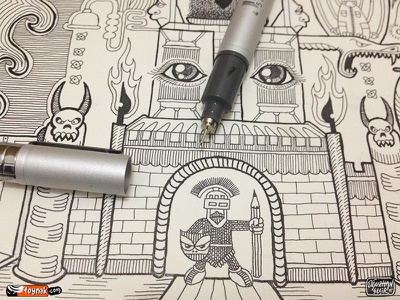 King of my castle castle knight king guardian gate copic rapidograph rotring isograph poster doodle